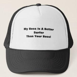 私のボスはあなたのボスよりよいサーファーです! キャップ