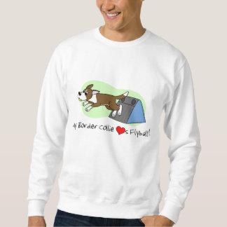 私のボーダーコリーは愛しますFlyballのスエットシャツ(ブラウン)を スウェットシャツ
