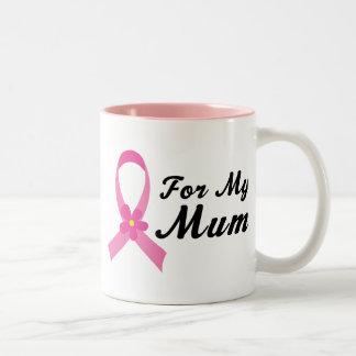 私のミイラのためのピンクのリボン ツートーンマグカップ