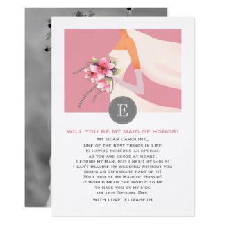 私のメイド・オブ・オーナー(花嫁付き添い人)ですか。 カスタムな写真カード カード