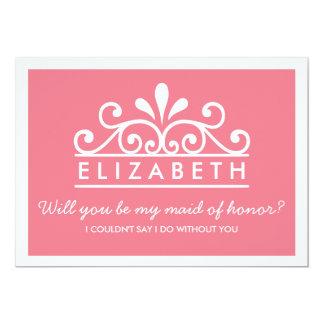 私のメイド・オブ・オーナー(花嫁付き添い人)ですか。 ピンクのティアラカード 12.7 X 17.8 インビテーションカード