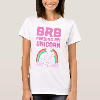 私のユニコーンを食べ物を与えるBRB Tシャツ
