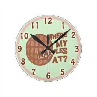 私のワッフルがあるところ! ラウンド壁時計