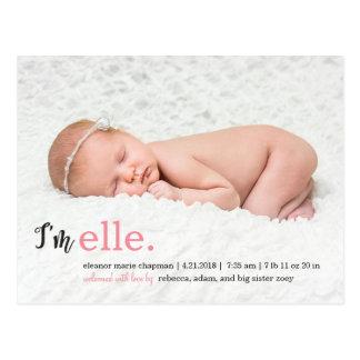 私の一流のモダンな誕生の発表 ポストカード