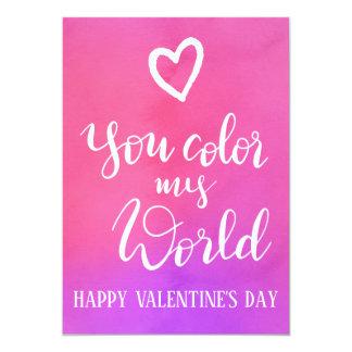 私の世界 の手書きのバレンタインデーを着色します カード