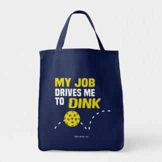 """""""私の仕事Dink""""はPickleballのトートバックに私を運転します トートバッグ"""
