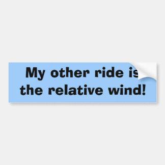 私の他の乗車は相対的な風です! バンパーステッカー