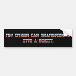 私の他の車はロボット-赤いフォントに変形します バンパーステッカー