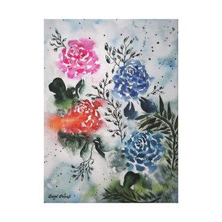 私の公平なバラの水彩画 キャンバスプリント