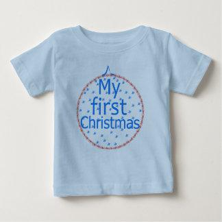 私の初めてのクリスマスのつまらないもののデザイン ベビーTシャツ