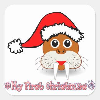 私の初めてのクリスマスのベビーのセイウチ スクエアシール