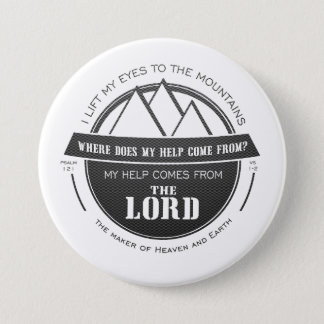 私の助けは主の山のロゴの詩から来ます 7.6CM 丸型バッジ