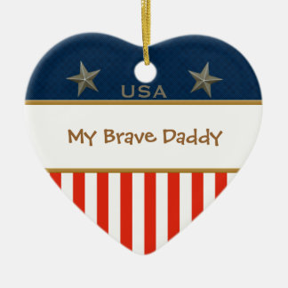 私の勇敢なお父さんの愛国心が強いハートフレーム セラミックオーナメント