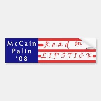 私の口紅McCain Palin 「08にバンパーステッカーを読んで下さい バンパーステッカー