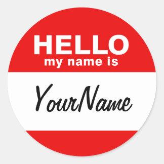 私の名前はです空白のでカスタムな名札の赤(6/20パック) ラウンドシール