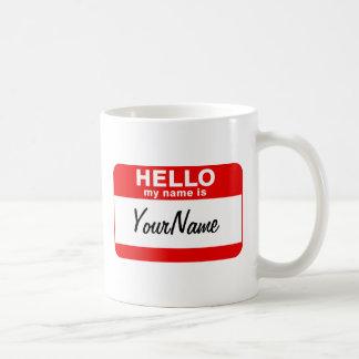 私の名前はコーヒーカップのブランクのカスタムな名札の赤です コーヒーマグカップ
