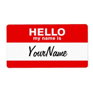 私の名前は空白のでカスタムな名札の赤です ラベル