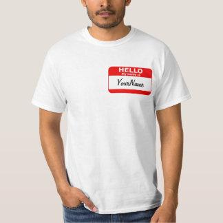 私の名前は空白のでカスタムな名札のTシャツの赤です Tシャツ