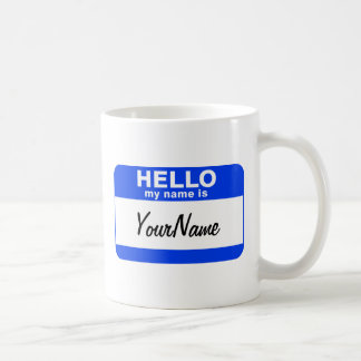 私の名前は青くカスタムな名札です コーヒーマグカップ