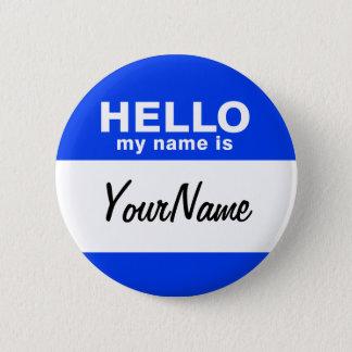 私の名前は青くカスタムな名札です 5.7CM 丸型バッジ