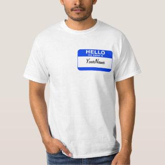 私の名前は青くカスタムな名札です Tシャツ