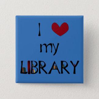 私の図書館を愛して下さい-色を変えて下さい 5.1CM 正方形バッジ