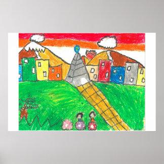 私の国(エクアドル、4-7)の色 ポスター