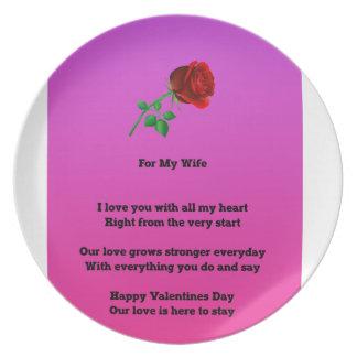 私の妻のバレンタインデーの詩のため プレート