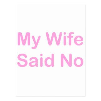 私の妻は明るいピンクのフォントのいいえ言いませんでした ポストカード