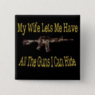 私の妻は私が銃を持つことを許可します 5.1CM 正方形バッジ