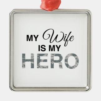 私の妻は英雄のデジタル私のカムフラージュです メタルオーナメント