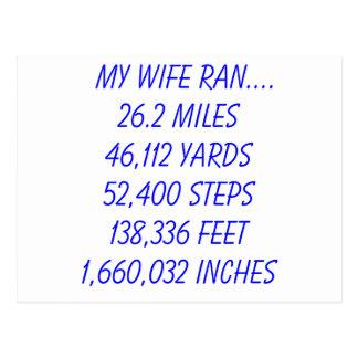 私の妻は26.2マイルを走りました ポストカード