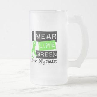 私の姉妹のためのリンパ腫Iの衣服のライムグリーンのリボン フロストグラスビールジョッキ