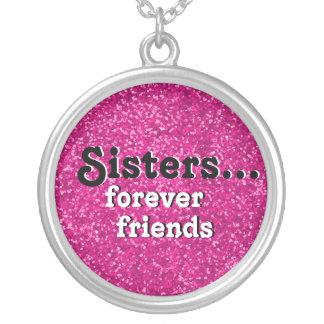 私の姉妹の親友|のピンクのグリッターの一見 シルバープレートネックレス