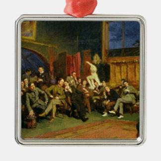 私の学生が付いているスタジオ、1886年の夕べ シルバーカラー正方形オーナメント