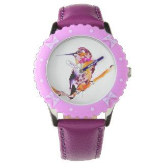 私の小枝のハチドリのプリント 腕時計