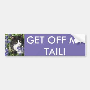 私の尾タキシード猫のテキサス州Bluebonnetsを離れて得て下さい バンパーステッカー