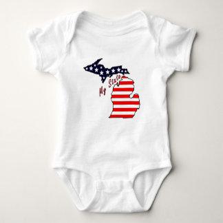 私の州: ミシガン州の乳児のクリーパー ベビーボディスーツ