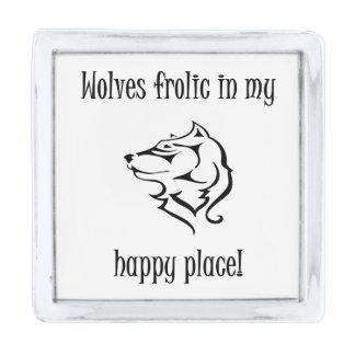 私の幸せな場所のオオカミの遊戯 シルバー ラペルピン