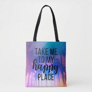私の幸せな場所のBohoのビーチ及びヤシの木に私を連れて行って下さい トートバッグ