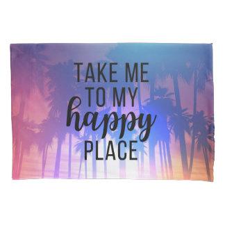 私の幸せな場所のBohoのビーチ及びヤシの木に私を連れて行って下さい 枕カバー