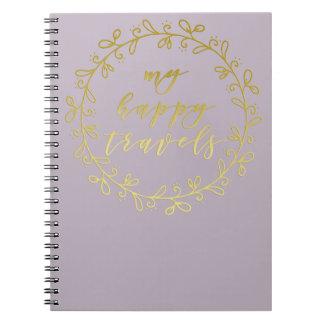 私の幸せな旅行-金ゴールドの原稿のタイポグラフィのノート ノートブック