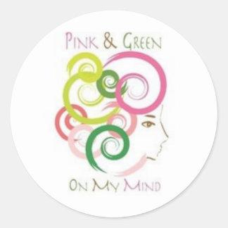私の心のピンクそして緑 ラウンドシール