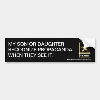 私の息子か娘はプロパガンダを確認します バンパーステッカー