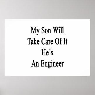 私の息子は彼によってがエンジニアであるそれを大事にします ポスター