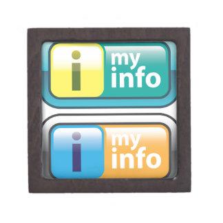 私の情報ボタンのベクトル ギフトボックス