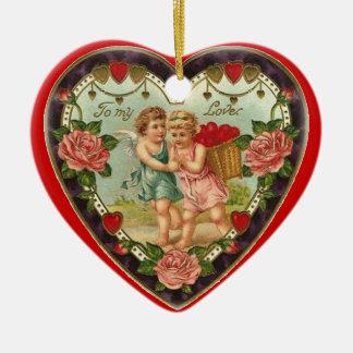 私の愛へのビクトリアンなバレンタイン セラミックオーナメント