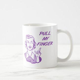 私の指のレトロの主婦の紫色を引っ張って下さい コーヒーマグカップ