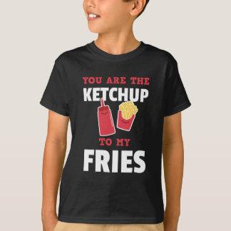 私の揚げ物のかわいいカップルへケチャップです Tシャツ
