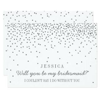 私の新婦付添人ですか。 ヴィンテージの銀製の紙吹雪 12.7 X 17.8 インビテーションカード